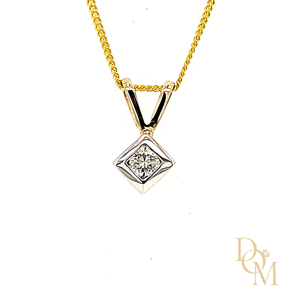 9ct Yellow Gold Diamond Solitaire Pendant