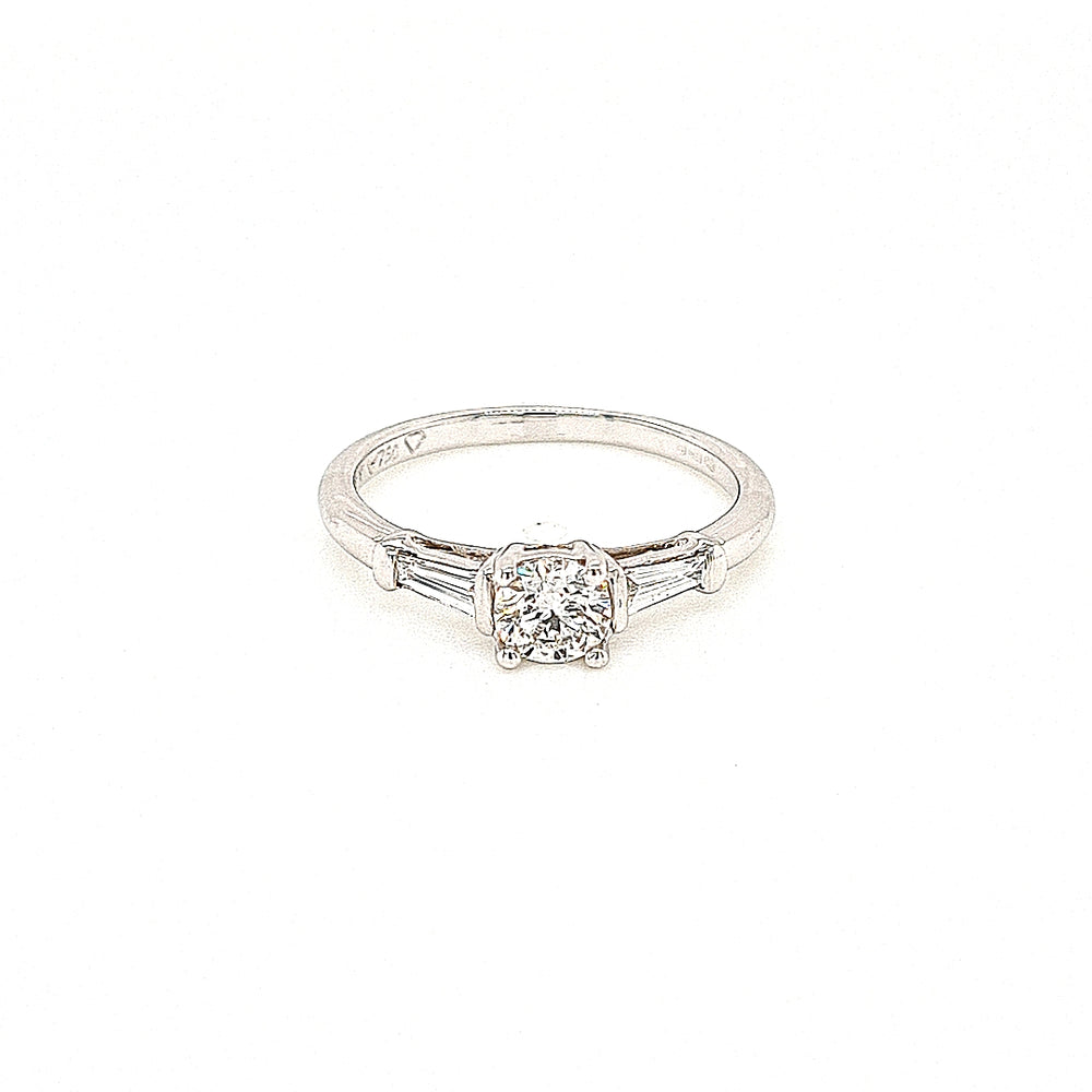 18ct White Gold Solitaire Ring with Baguette Side Diamonds