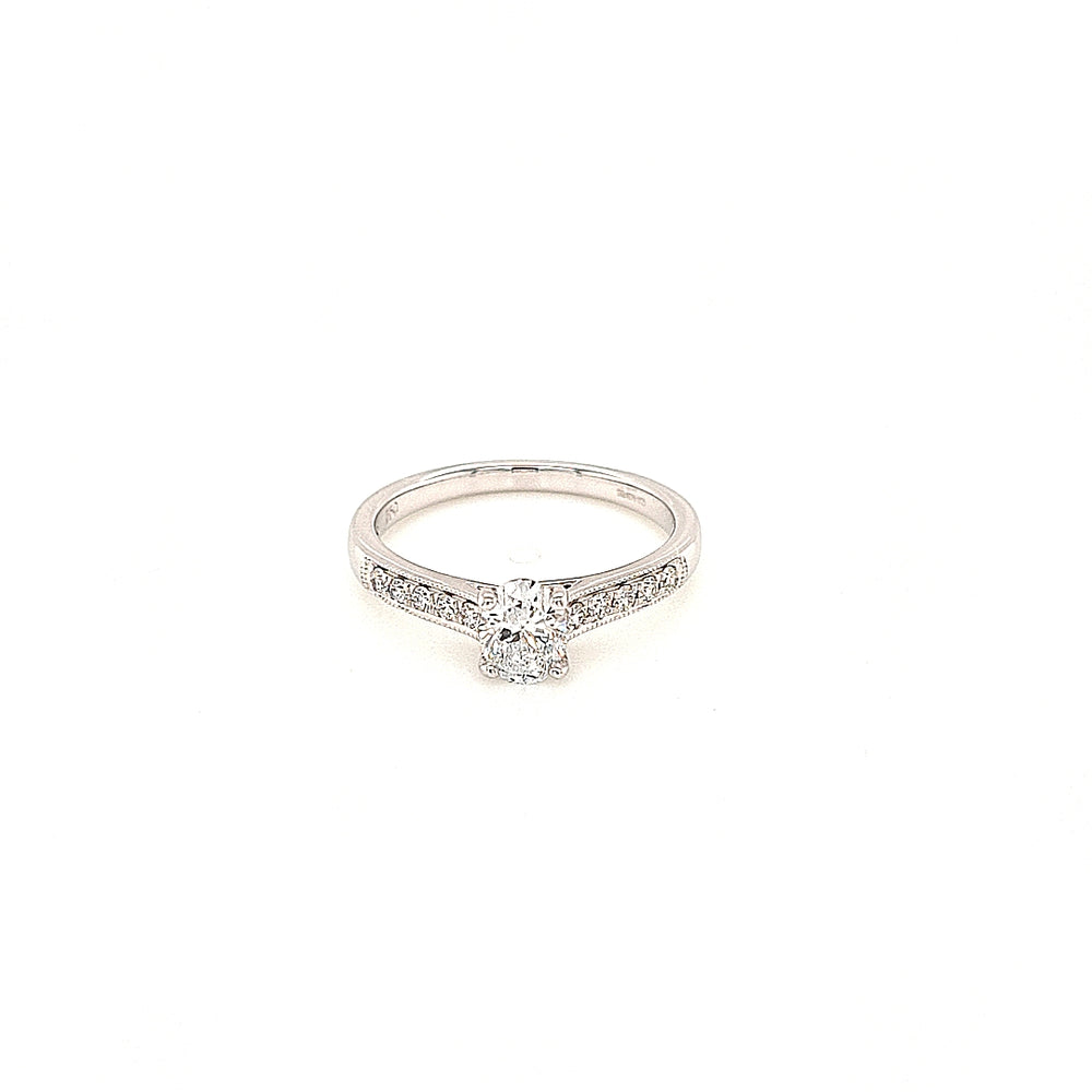 Oval Solitaire Diamond Engagement Ring with Diamond Shoulders