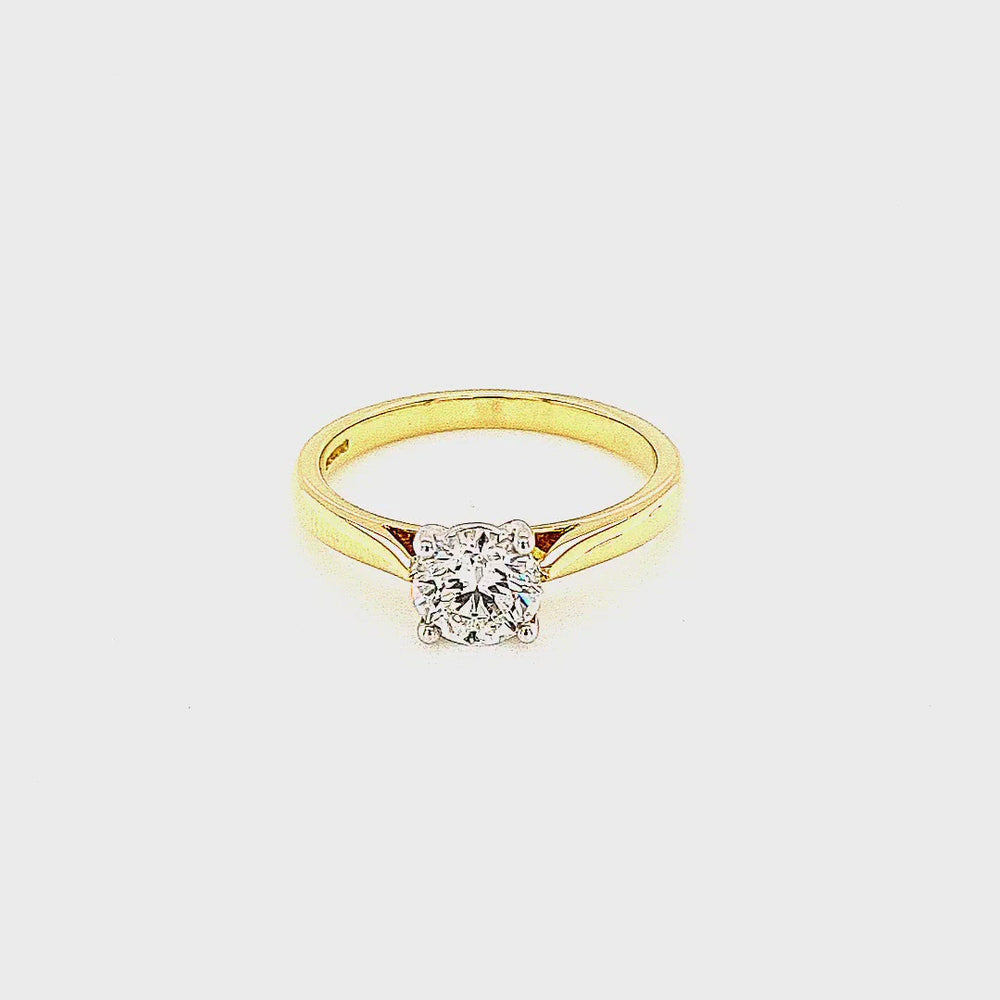 Load and play video in Gallery viewer, Yellow Gold Solitaire Diamond Engagement Ring