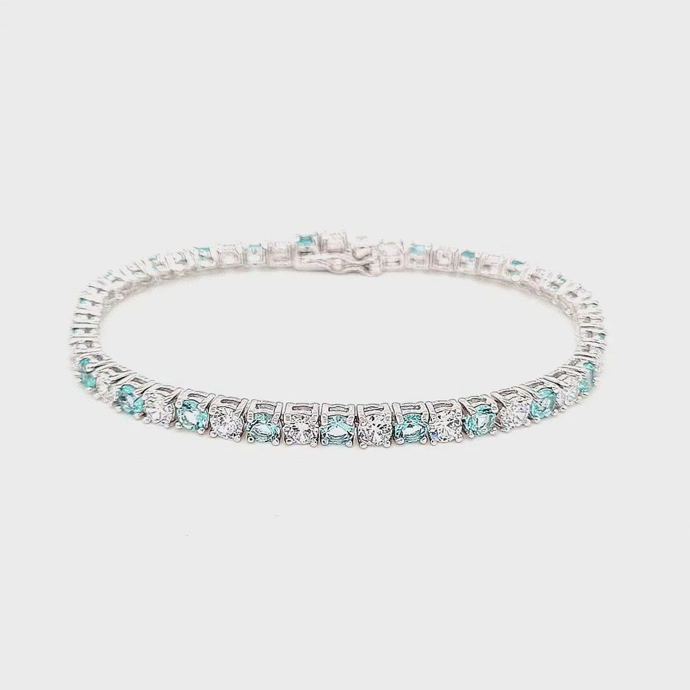 Load and play video in Gallery viewer, Sterling Silver Aquamarine Cubic Zirconia Bracelet
