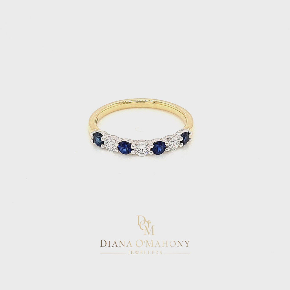 Load and play video in Gallery viewer, 18ct Yellow Gold Sapphire & Diamond Eternity Ring