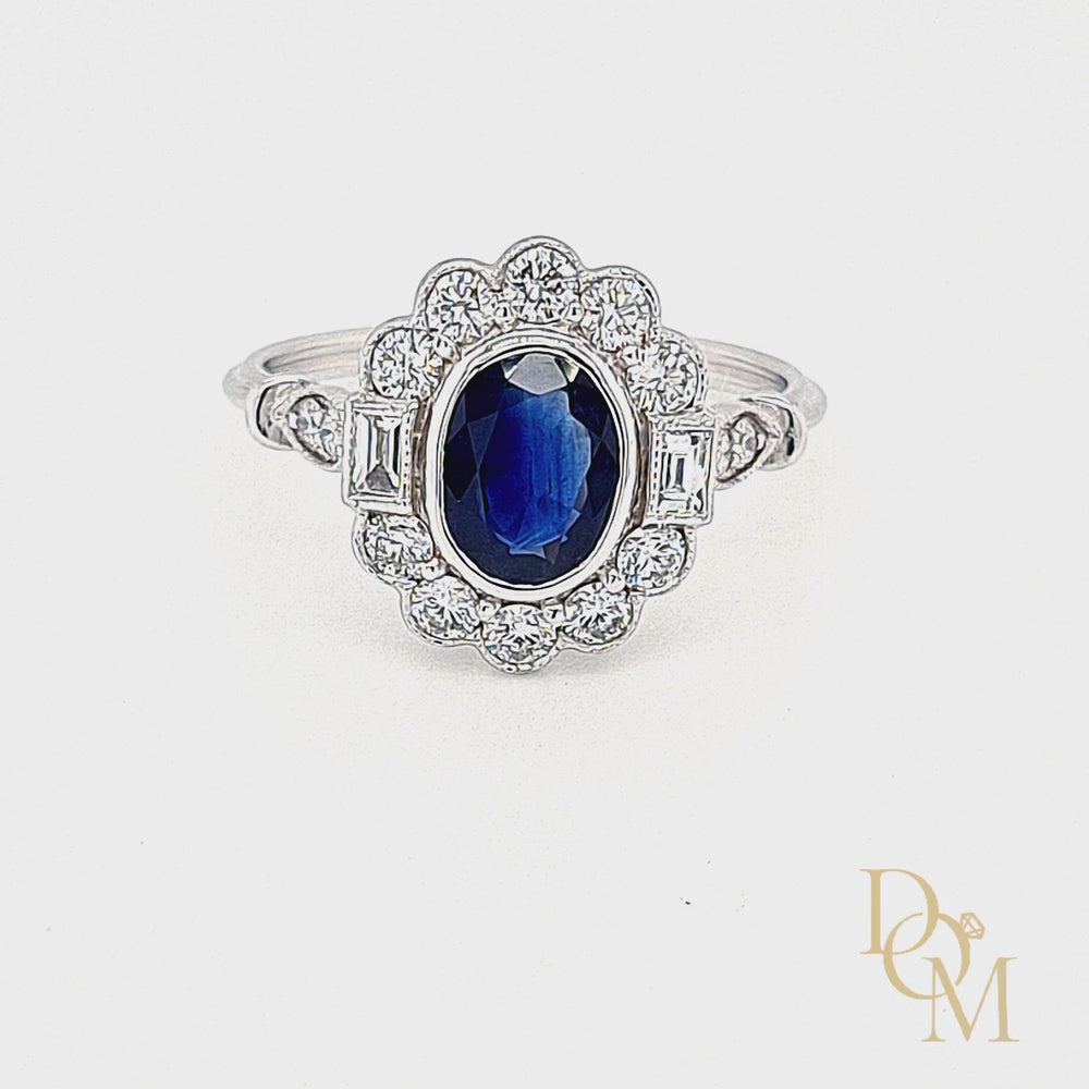 Load and play video in Gallery viewer, 18ct White Gold Vintage Style Sapphire & Diamond Cluster Ring