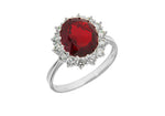 Sterling Silver Oval Ruby Red CZ Cluster Ring