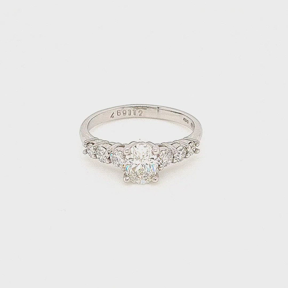 Load and play video in Gallery viewer, Platinum Oval Solitaire with Graduating Diamond Shoulders