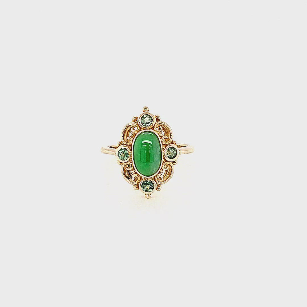 Load and play video in Gallery viewer, 9ct Yellow Gold Vintage Style Jade & Tourmaline Ring