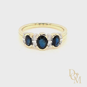Load and play video in Gallery viewer, 9ct Yellow Gold Three Stone Sapphire & Diamond Ring