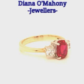 Load and play video in Gallery viewer, 9ct Gold Ruby Cubic Zirconia Three Stone Ring