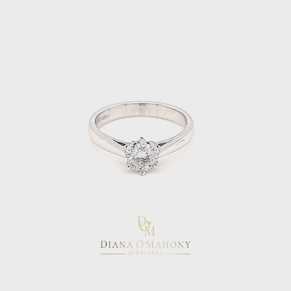 Load and play video in Gallery viewer, 18ct White Gold Solitaire Diamond Engagement Ring