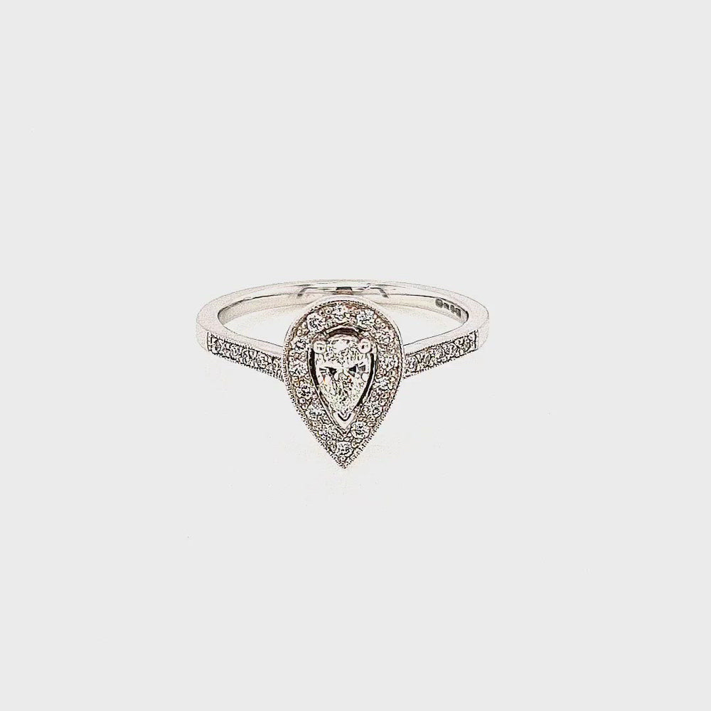Load and play video in Gallery viewer, Pear-cut Halo Cluster Diamond Engagement Ring with Diamond Shoulders