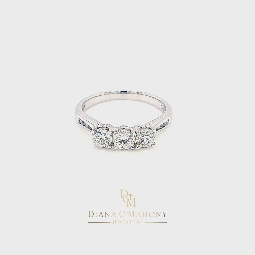 Load and play video in Gallery viewer, 18ct White Gold Three Stone Diamond Engagement Ring with Diamond Shoulders