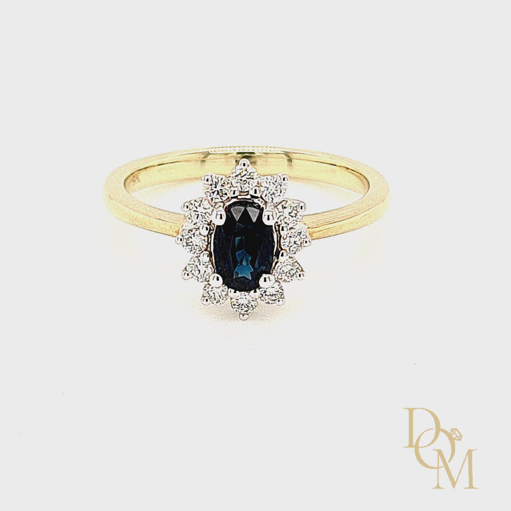 Load and play video in Gallery viewer, 9ct Yellow Gold Sapphire & Diamond Cluster Ring