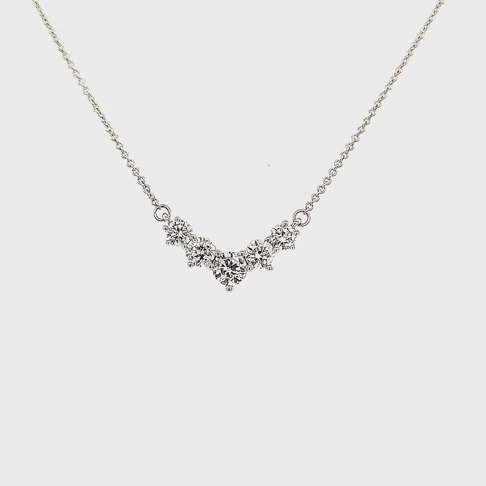 Load and play video in Gallery viewer, Graduating Five Stone Diamond Necklace