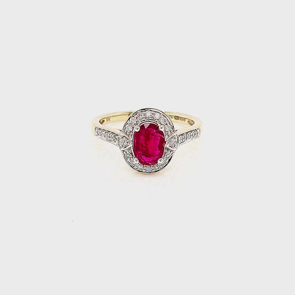 Load and play video in Gallery viewer, Art Deco Style Ruby & Diamond Cluster Ring