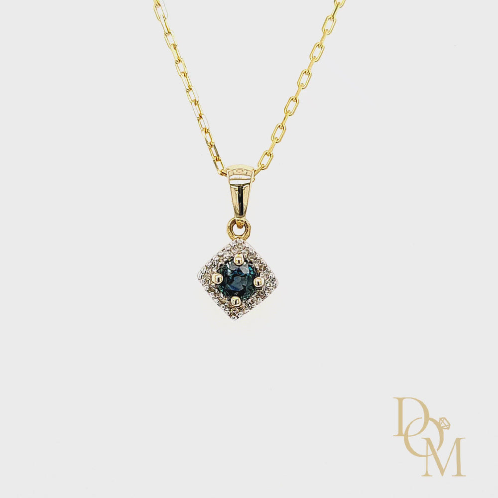 Load and play video in Gallery viewer, 9ct Yellow Gold Sapphire & Diamond Cluster Pendant