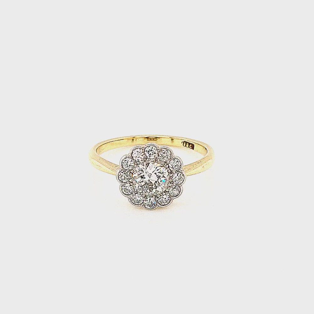 Load and play video in Gallery viewer, Antique Edwardian Daisy Cluster Diamond Engagement Ring