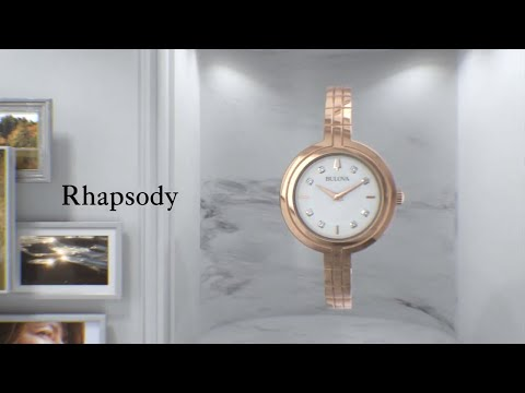 Load and play video in Gallery viewer, Ladies Bulova Rhapsody Classic Style Gold Bracelet Watch - 97P144