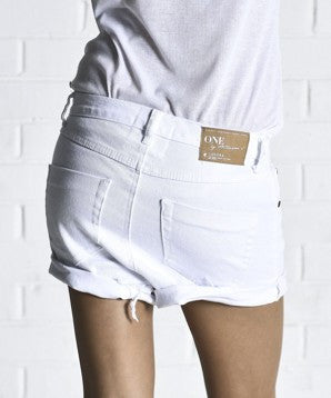 ONE TEASPOON Luxe White Lovers Shorts