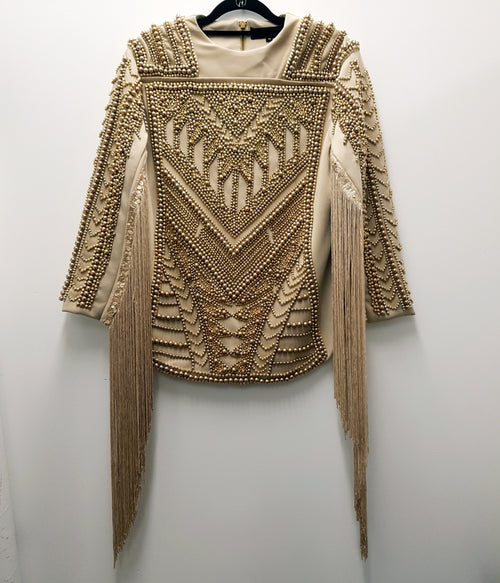 A STAR IS BORN - Gold Beaded Top - DESIGNER PRELOVED