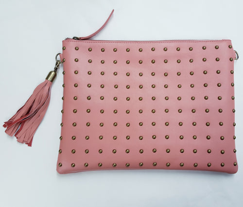LIVE LIKE LIL - Pink/Blush Nikki Leather Clutch with Studs