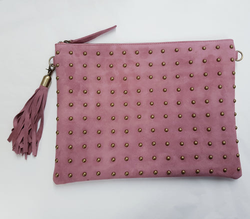LIVE LIKE LIL - Rose Pink Suede Nikki Clutch Bag