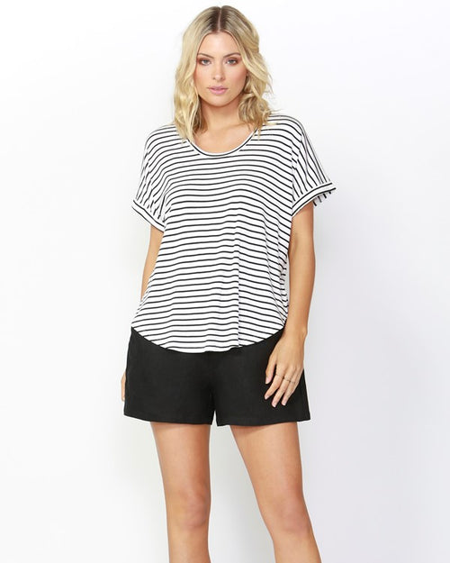 BETTY BASICS - Black & White Striped Adelaide Tee