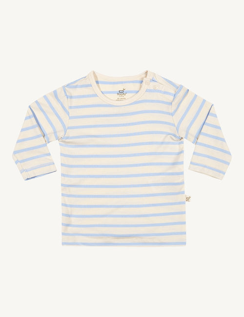 BOODY BABY - Sky/Chalk Stripe Organic Bamboo Long Sleeve Top