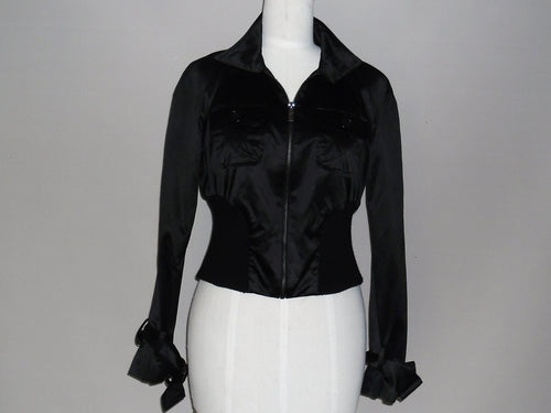 Bebe - Black Satin Crop Bomber Jacket - PRELOVED