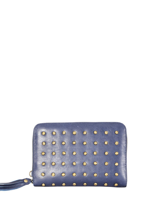 LIKE LIKE LIL - Belle Blue Leather Wallet with Studs