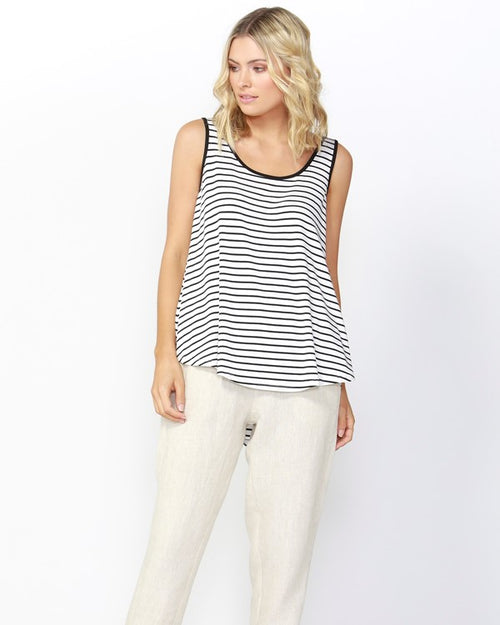 BETTY BASICS - Black & White Striped Boston Tank