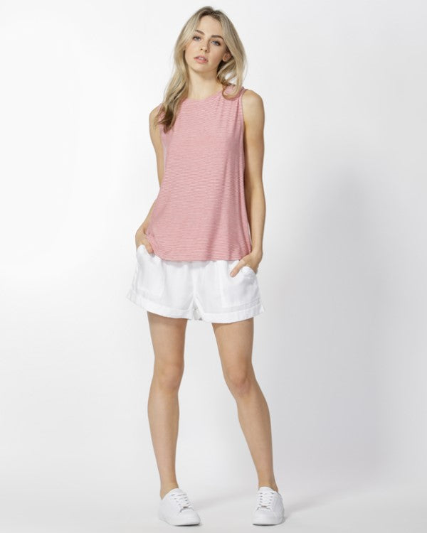 BETTY BASICS - Rose/White Capri Tank
