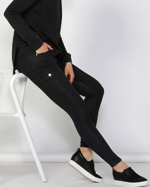 BETTY BASICS - Black Casper Cargo Denim Jeans