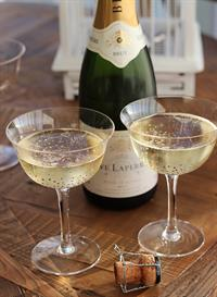 LUXE Champagne saucer glasses with gold spots