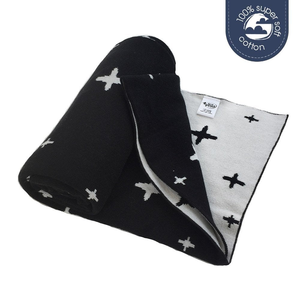 ECO SPROUT - Reversible Cotton Blanket -  Black Cross/Night Sky