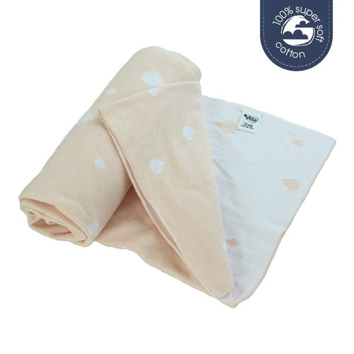ECO SPROUT - Reversible Cotton Blanket - Raindrop Blush