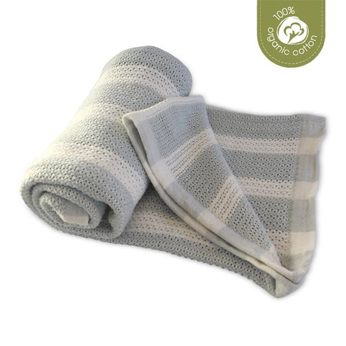 ECO SPROUT - Cellular Baby Blanket - Natural/Sky Gray