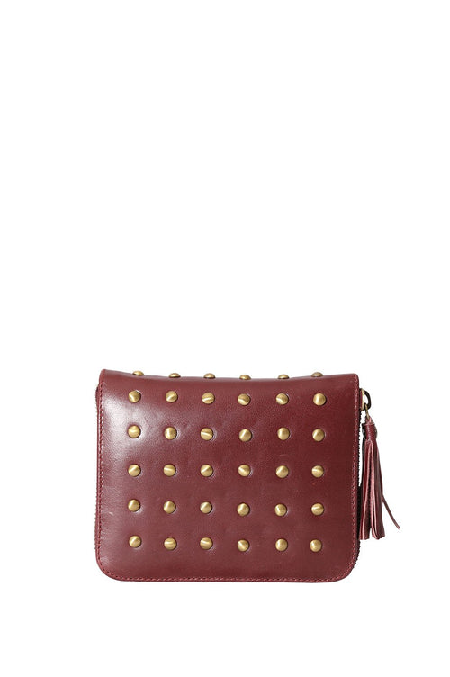 LIVE LIKE LIL - Burgundy Elle Wallet with Studs
