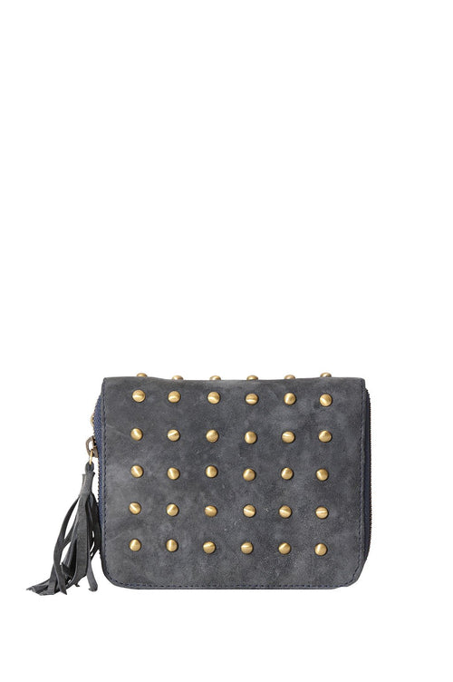 LIVE LIKE LIL - DONKEY GREY SUEDE ELLE WALLET WITH STUDS