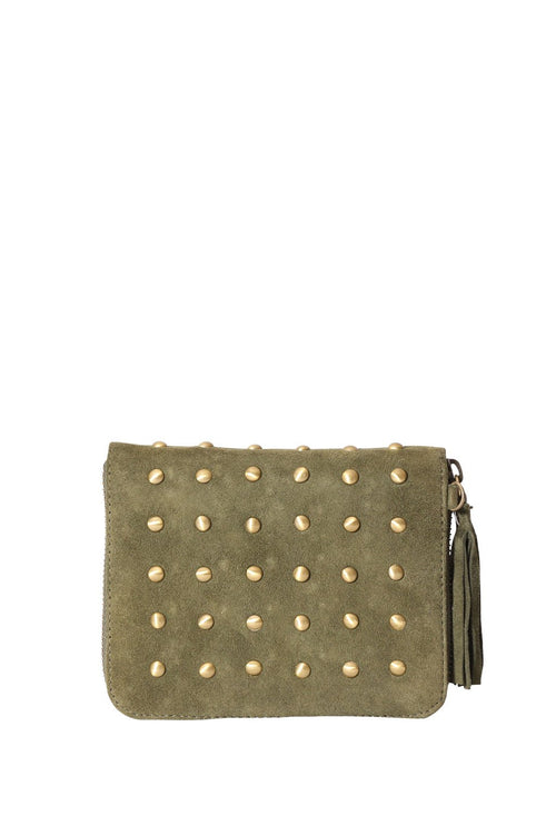 LIVE LIKE LIL - KHAKI SUEDE WALLET With STUDS