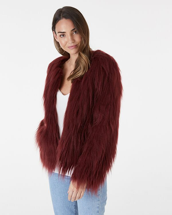 EVERLY COLLECTIVE - Wine Faux Fur Jacket