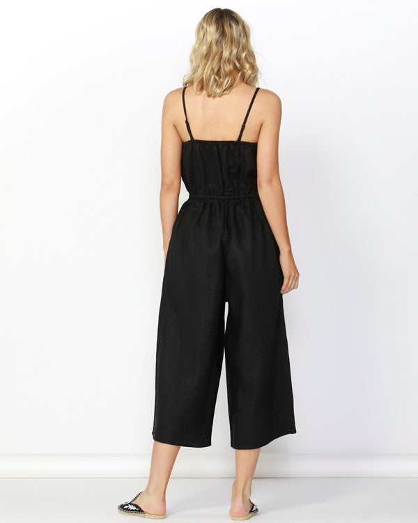BETTY BASICS - Black Finn Linen Jumpsuit