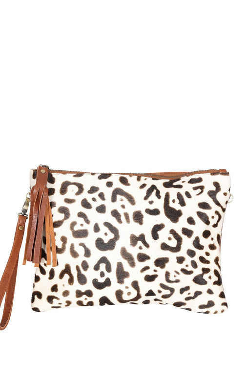 LIVE LIKE LIL - BLACK/WHITE COWHIDE with TAN BACK FOXY BAG