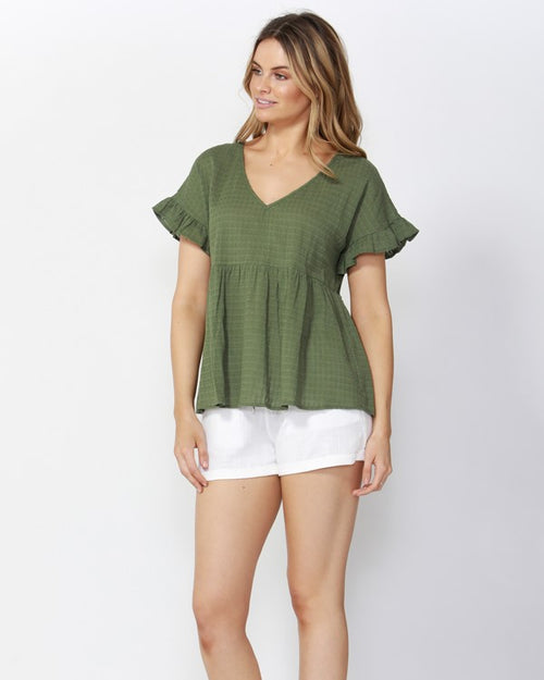 SASS - Olive Grid Girl Blouse