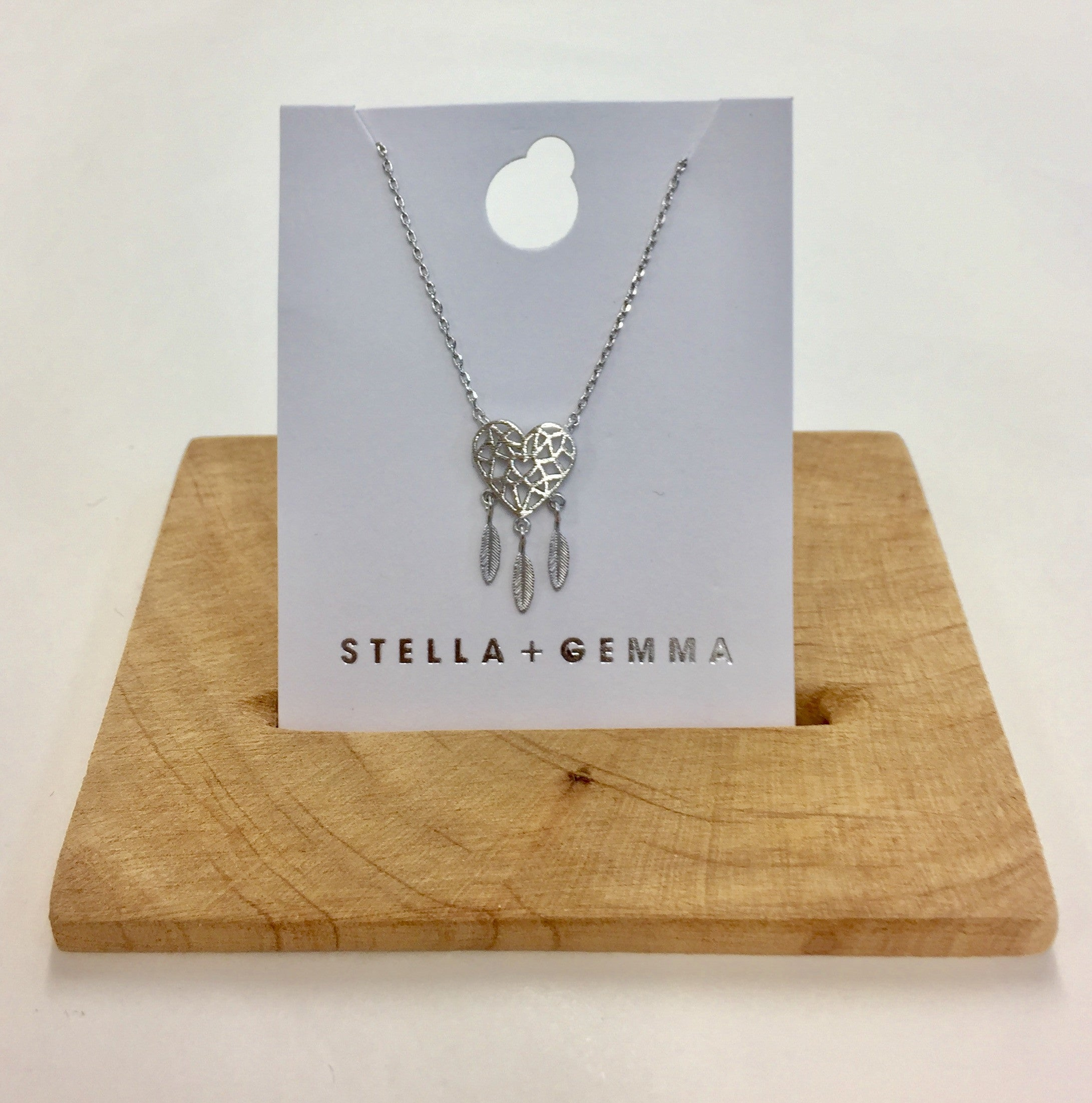 Stella + Gemma - Silver Heart Dreamcatcher Necklace