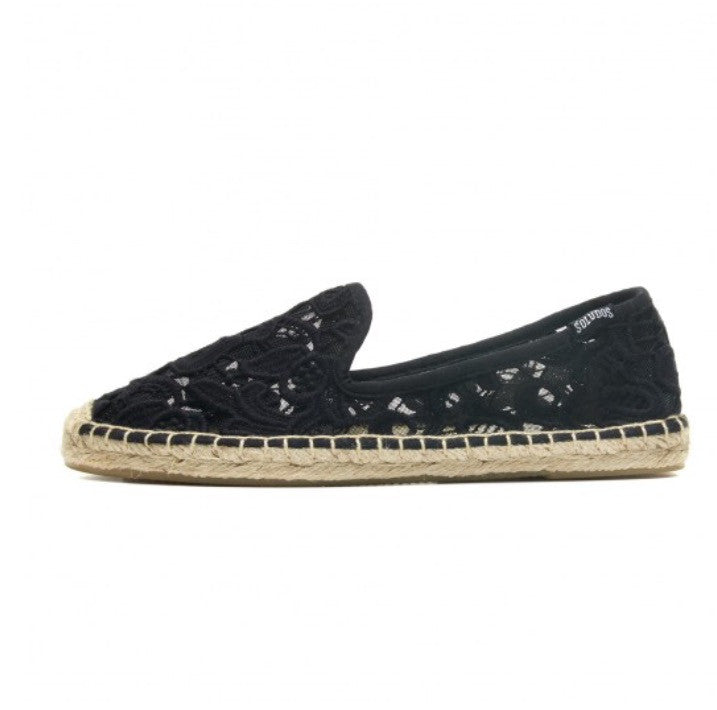 SOLUDOS Black Tulip Lace Smoking Slipper - Clearance