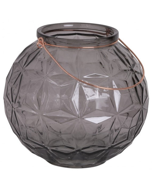 GREY GLASS LANTERN WITH HANDLE