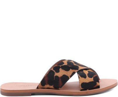 ANACAPRI -  Leopard Crossover Leather Sandal - CLEARANCE