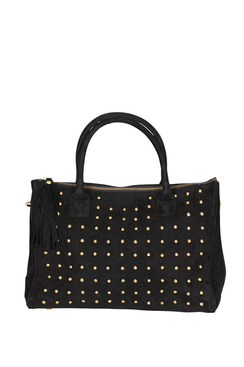 LIVE LIKE LIL - BLACK SUEDE MORGAN BAG with GOLD STUDS