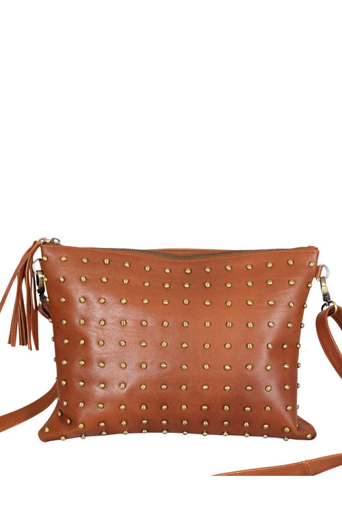 LIVE LIKE LIL - BROWN LEATHER NIKKI BAG WITH STUDS