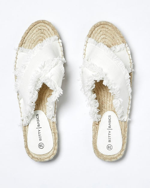 BETTY BASICS - Off White Seeker Espadrille Slide